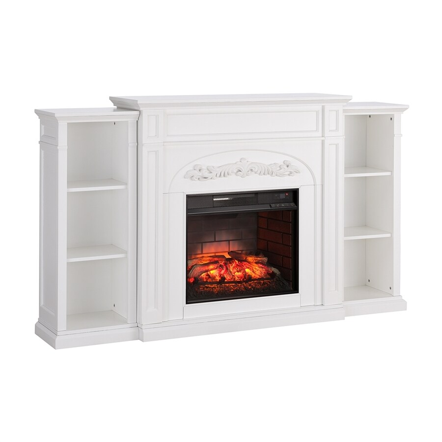 Boston Loft Furnishings 72.5-in W 5000-BTU White Mdf Flat Wall Infrared Quartz Electric Fireplace Thermostat Remote Control Included