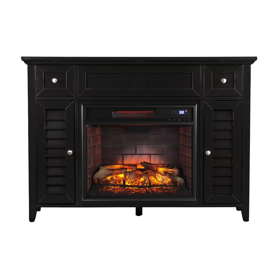 Boston Loft Furnishings 48-in W 5200-BTU Satin Black MDF Infrared Quartz Electric Fireplace Media Mantel with Thermostat and Remote Control