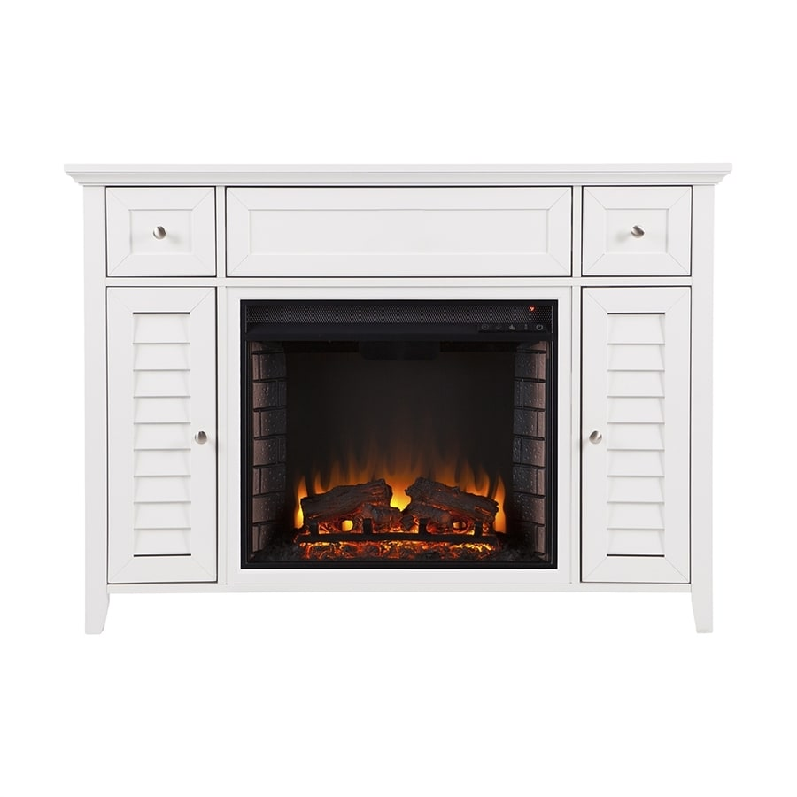 Boston Loft Furnishings 48-in W 4700-BTU White MDF LED Electric Fireplace Media Mantel with Thermostat and Remote Control