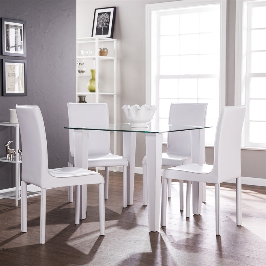 White Square Dining Table: Boston Loft Furnishings Pacha Bright White Dining Set With