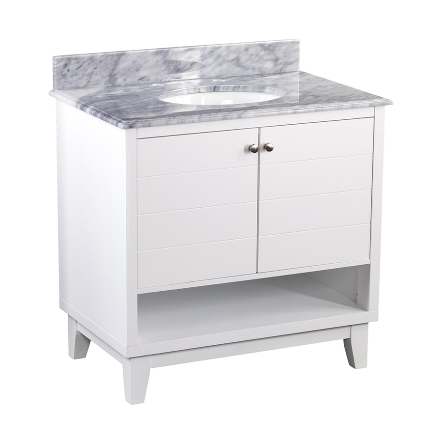 Boston Loft Furnishings Ridgeland White Undermount Single Sink Bathroom Vanity with Natural Marble Top (Common: 34-in x 22-in; Actual: 34-in x 22-in)
