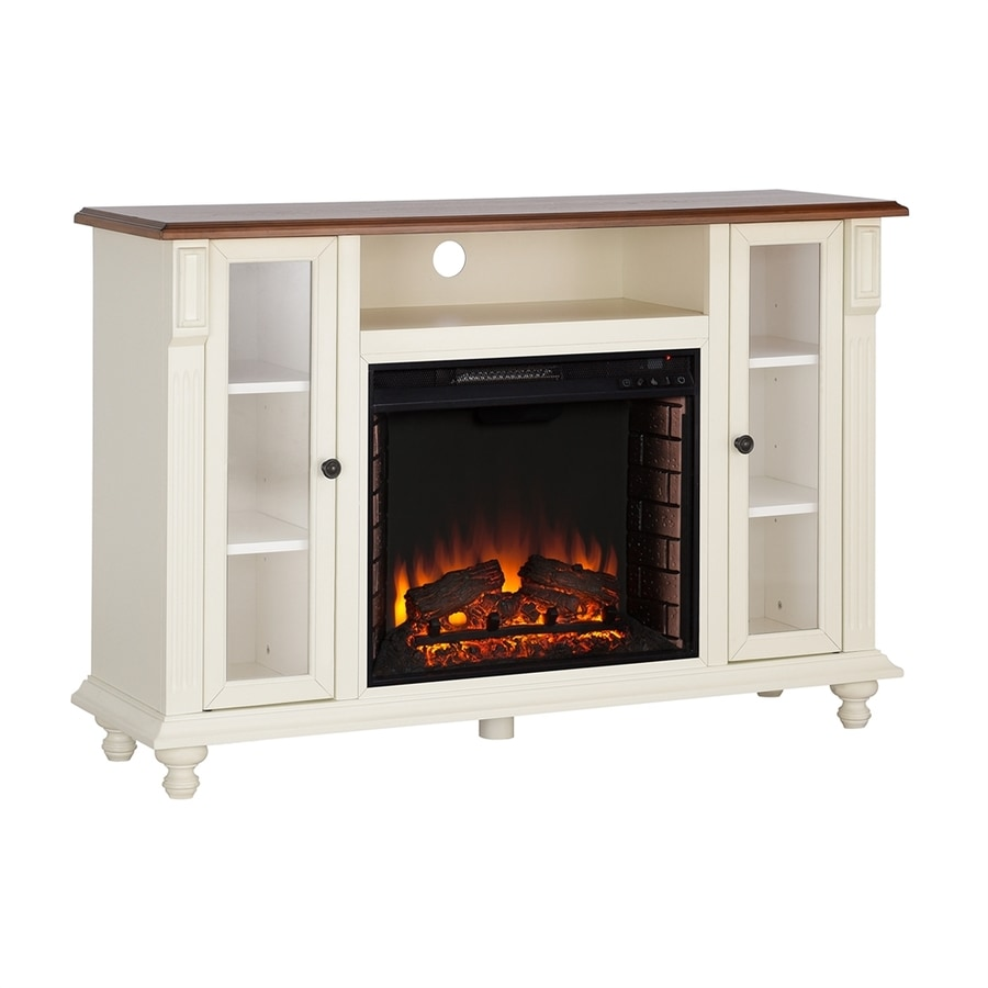 Boston Loft Furnishings 52-in W Antique White/Walnut LED Electric Fireplace Media Mantel with Thermostat and Remote Control