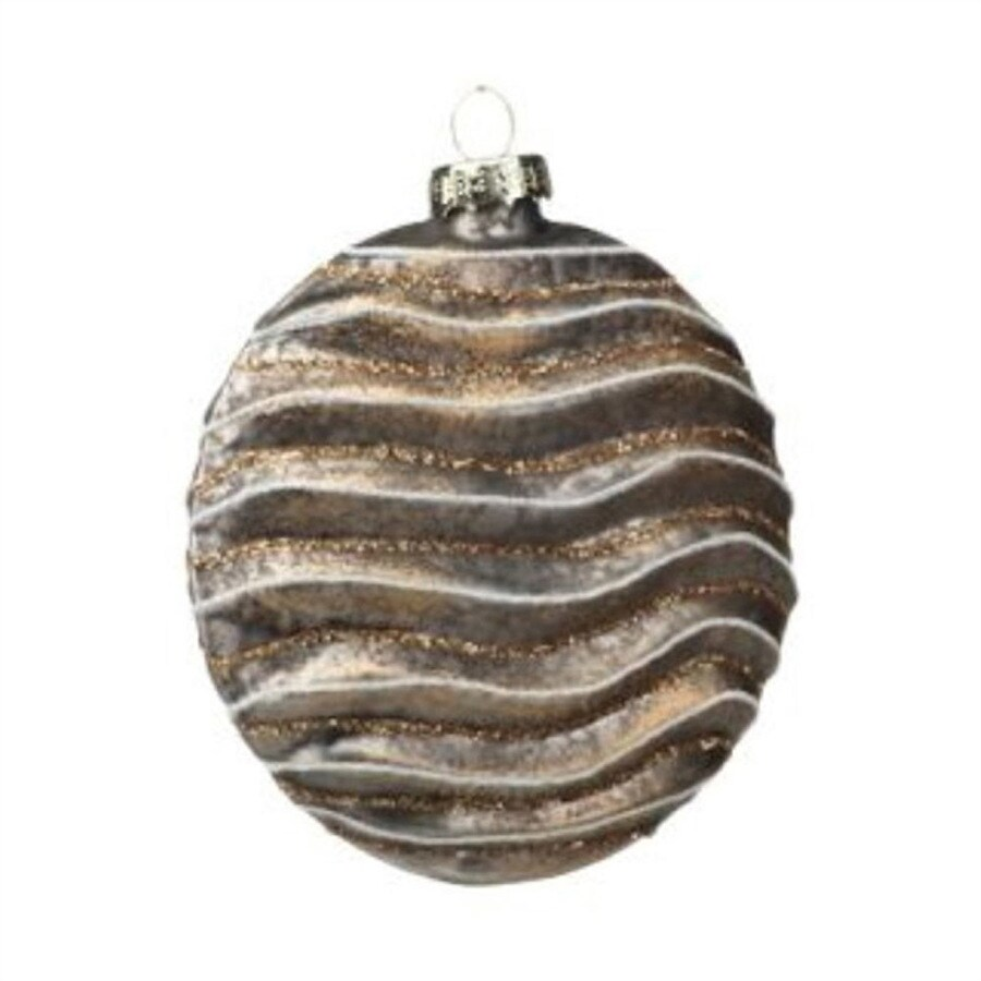 Zodax 6-Pack Brown Wave Disc Ball Ornament Set