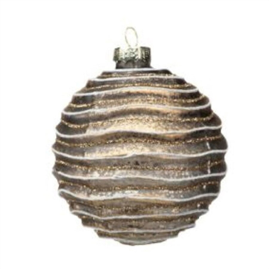 Zodax 6-Pack Brown Wave Ball Ornament Set