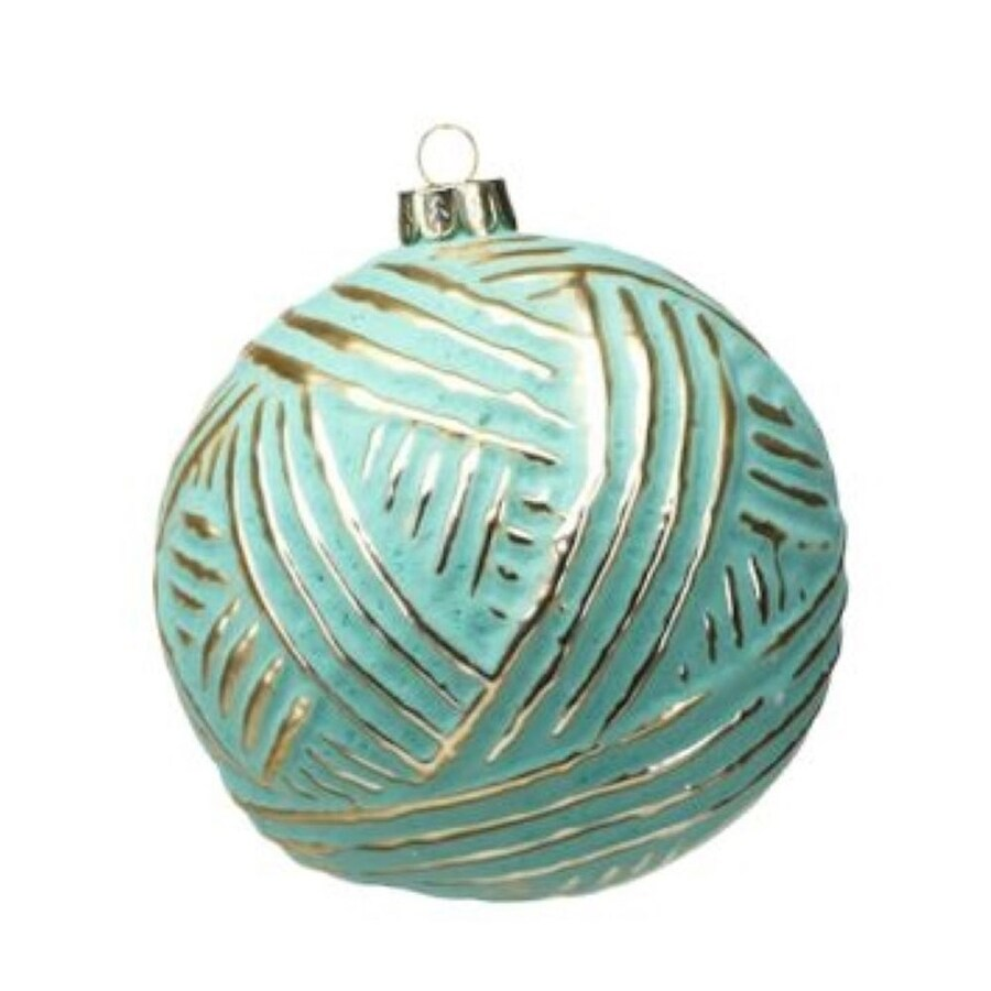 Zodax 6-Pack Turquoise with Gold Brush Ball Ornament Set