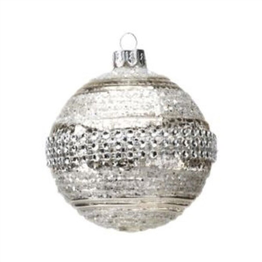 Zodax 6-Pack Glitter Beaded Silver Ball Ornament Set
