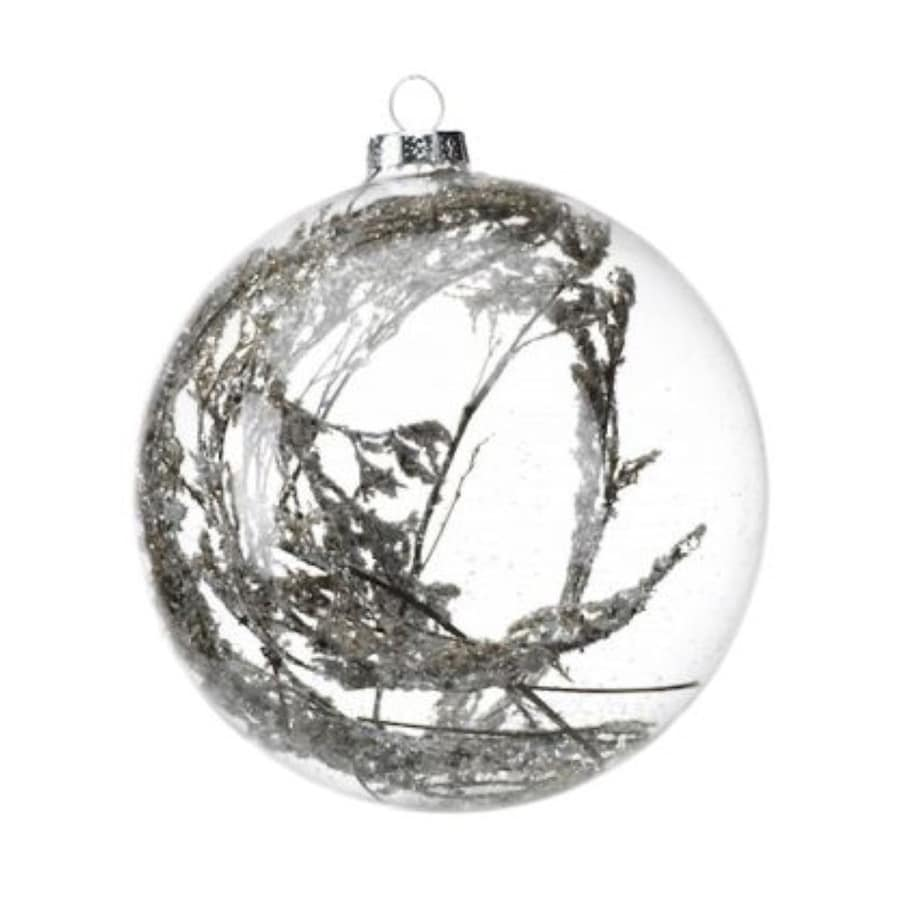 Zodax 4-Pack Clear Ball with Willow Holiday Ornament Set
