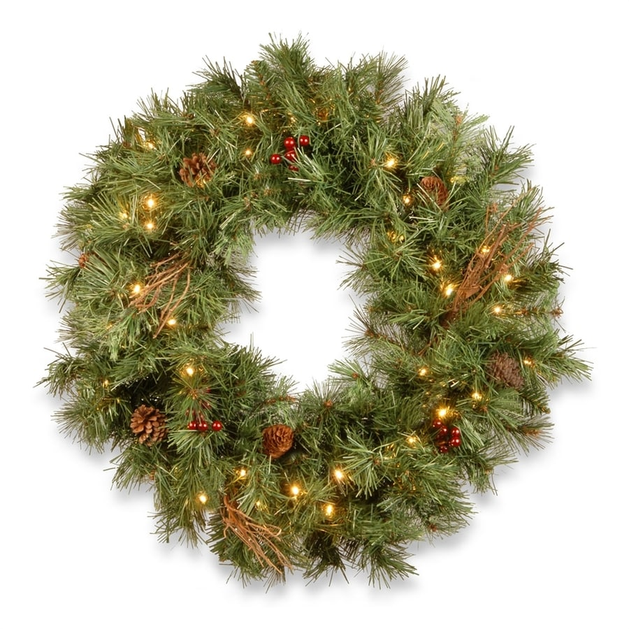 National Tree Company 24 In Pre Lit Battery Operated Green Pine Artificial Christmas Wreath With White Clear Led Lights