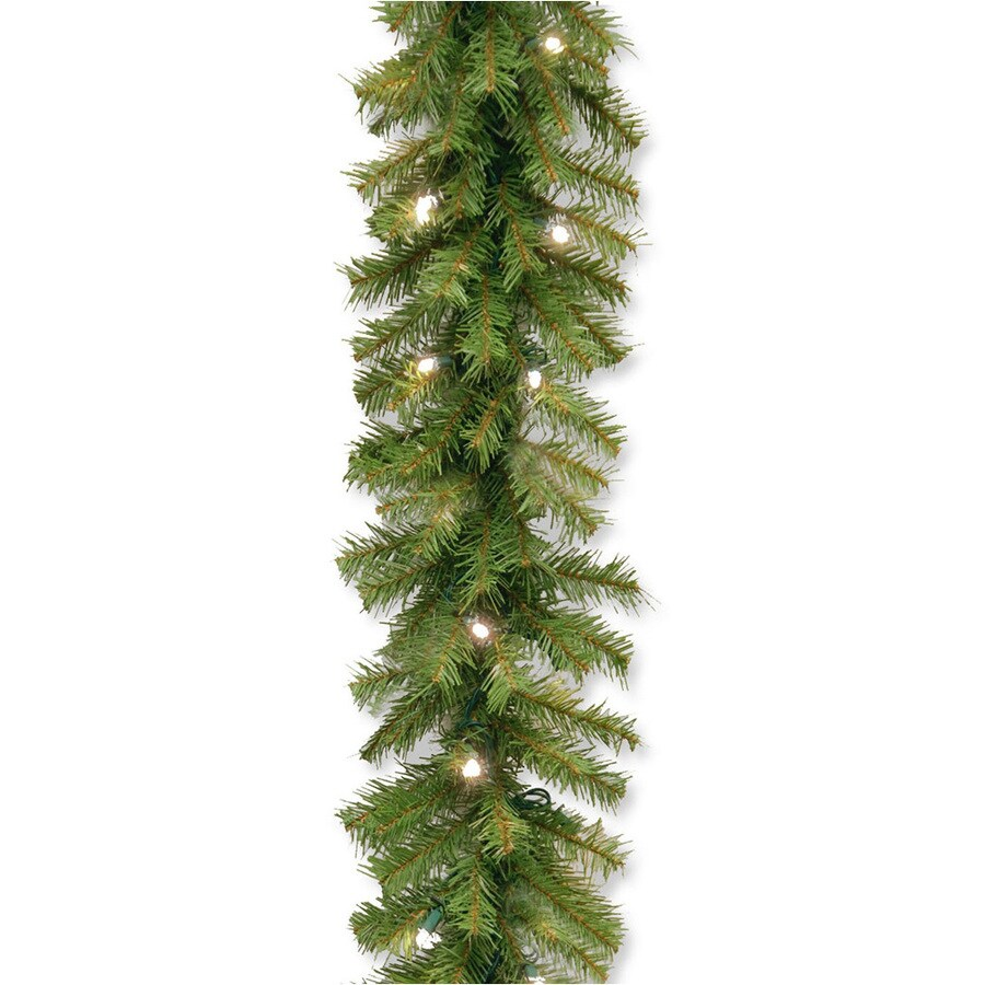 Shop National Tree Company Indoor/Outdoor Pre-Lit 9-ft L Pine ...