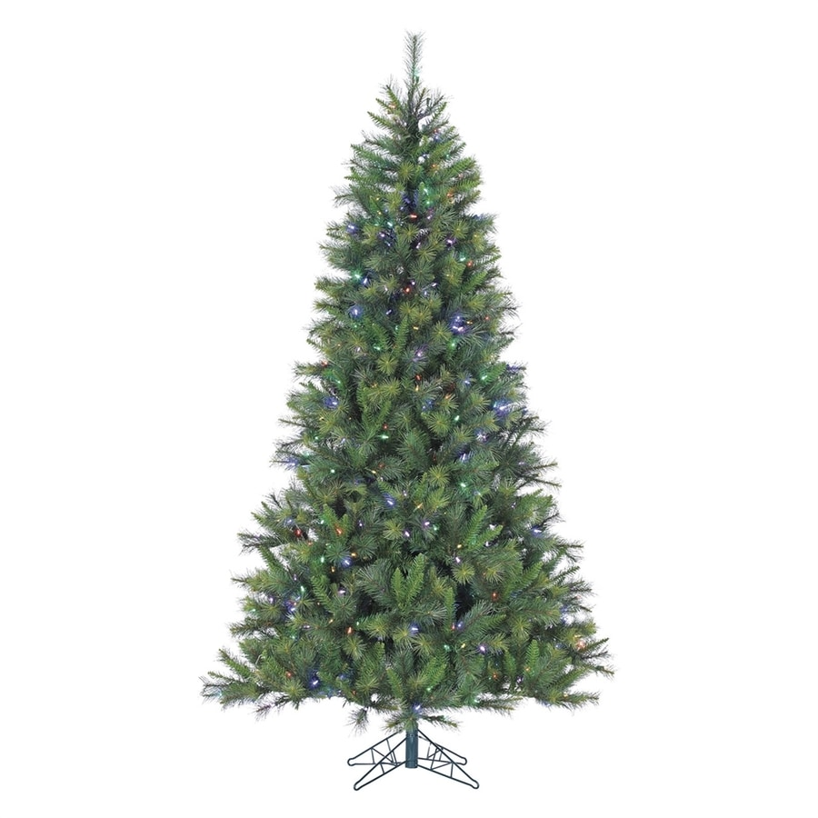 Fraser Hill Farm 9-ft Pre-Lit Canyon Pine Full Rightside-Up Artificial Christmas Tree with 900 Multi-Function Multicolor LED Lights