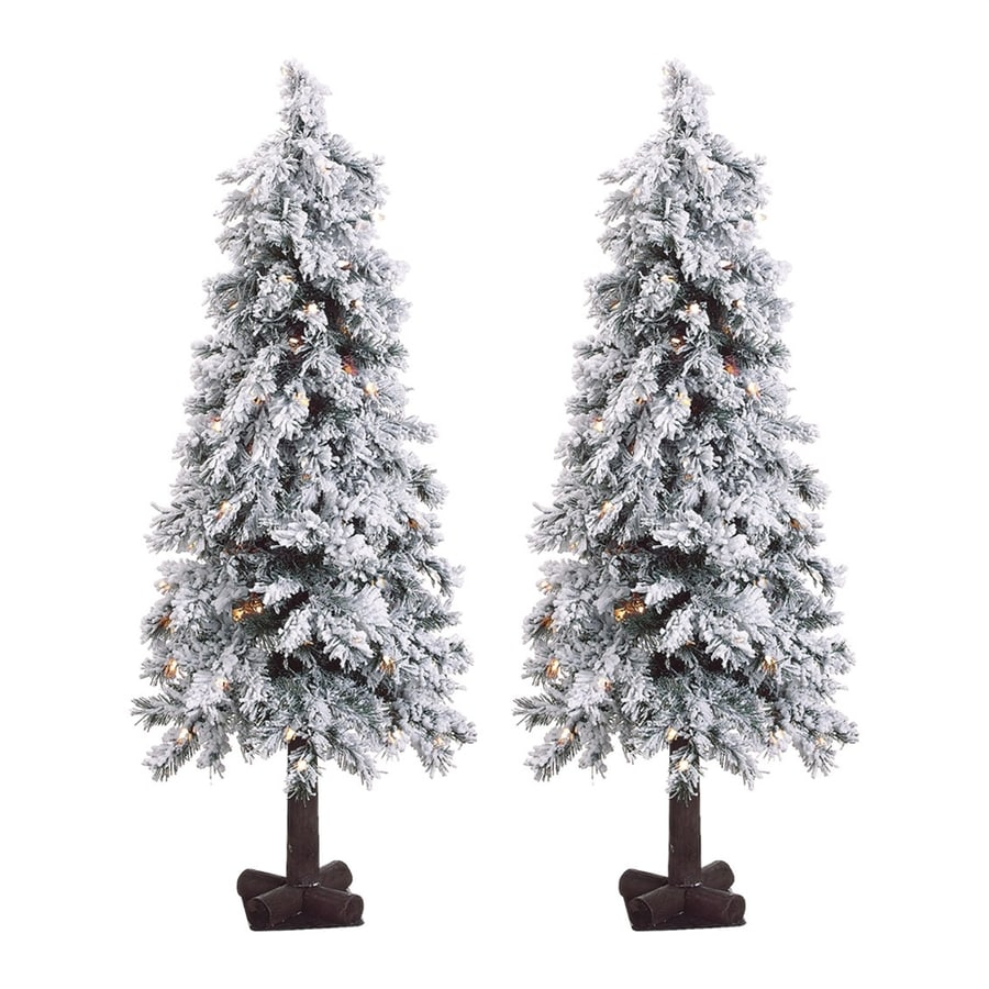 White 4 Foot Christmas Tree: Fraser Hill Farm 4-ft Pre-Lit Alpine Slim Flocked
