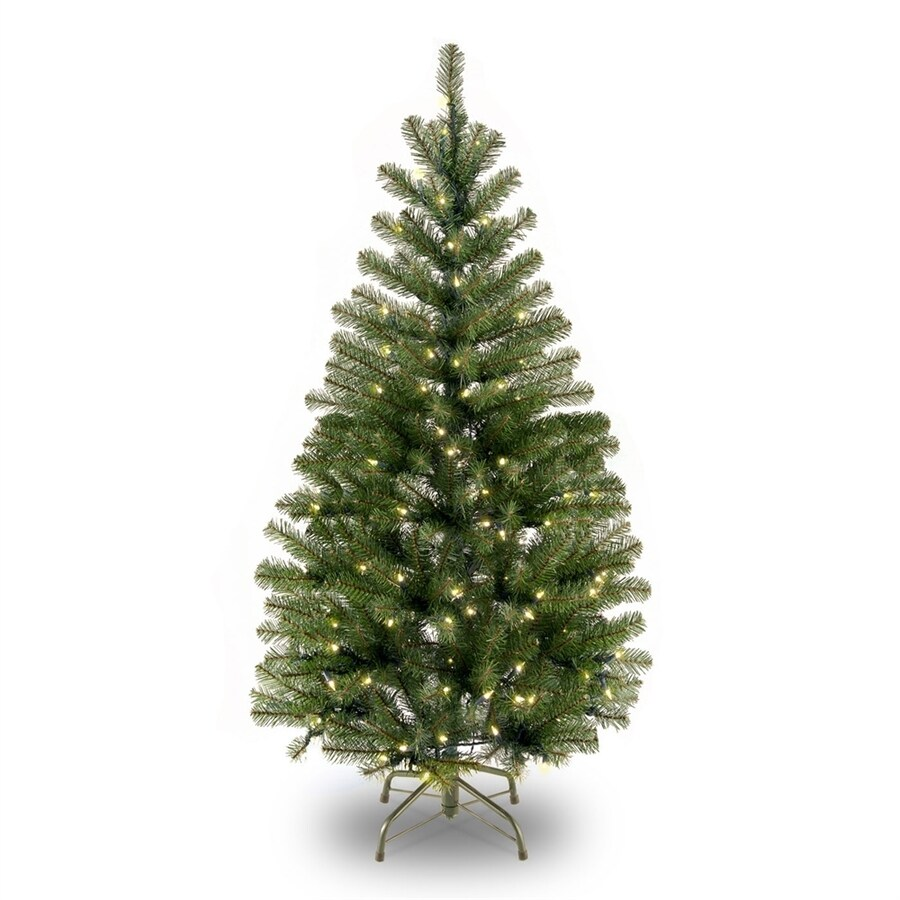 Shop National Tree Company 4-ft Pre-Lit Slim Rightside-Up Artificial ...