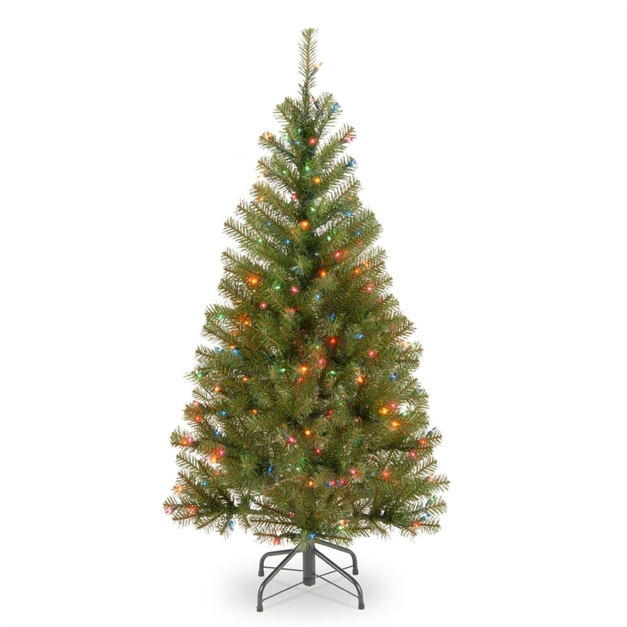Real Christmas Trees Lowes: National Tree Company 4-ft Pre-lit Slim Artificial