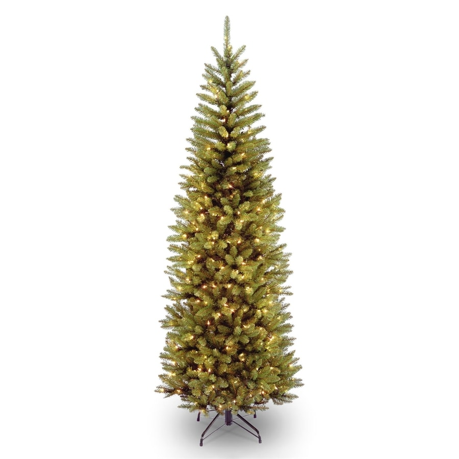 Shop National 7-ft Pre-Lit Slim Rightside-Up Artificial Christmas ...