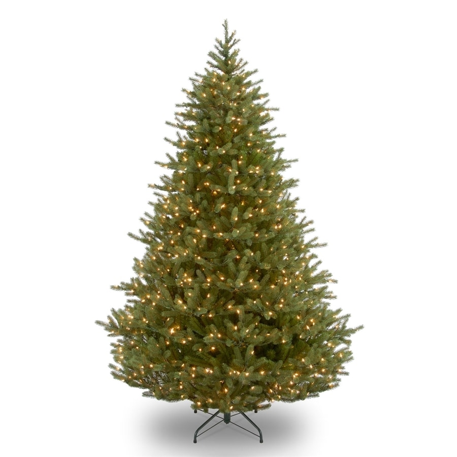 Shop National 9-ft Pre-Lit Noble Fir Full Rightside-Up Artificial ...