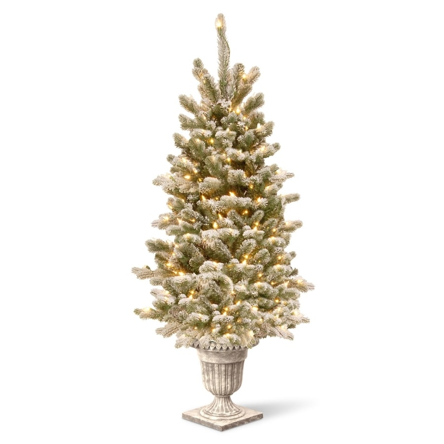 4 Ft White Christmas Trees Artificial: National 4-ft Pre-Lit Slim Flocked Rightside-Up Artificial