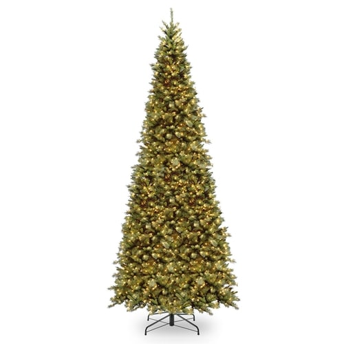National 12-ft Pre-Lit Slim Rightside-Up Artificial ...