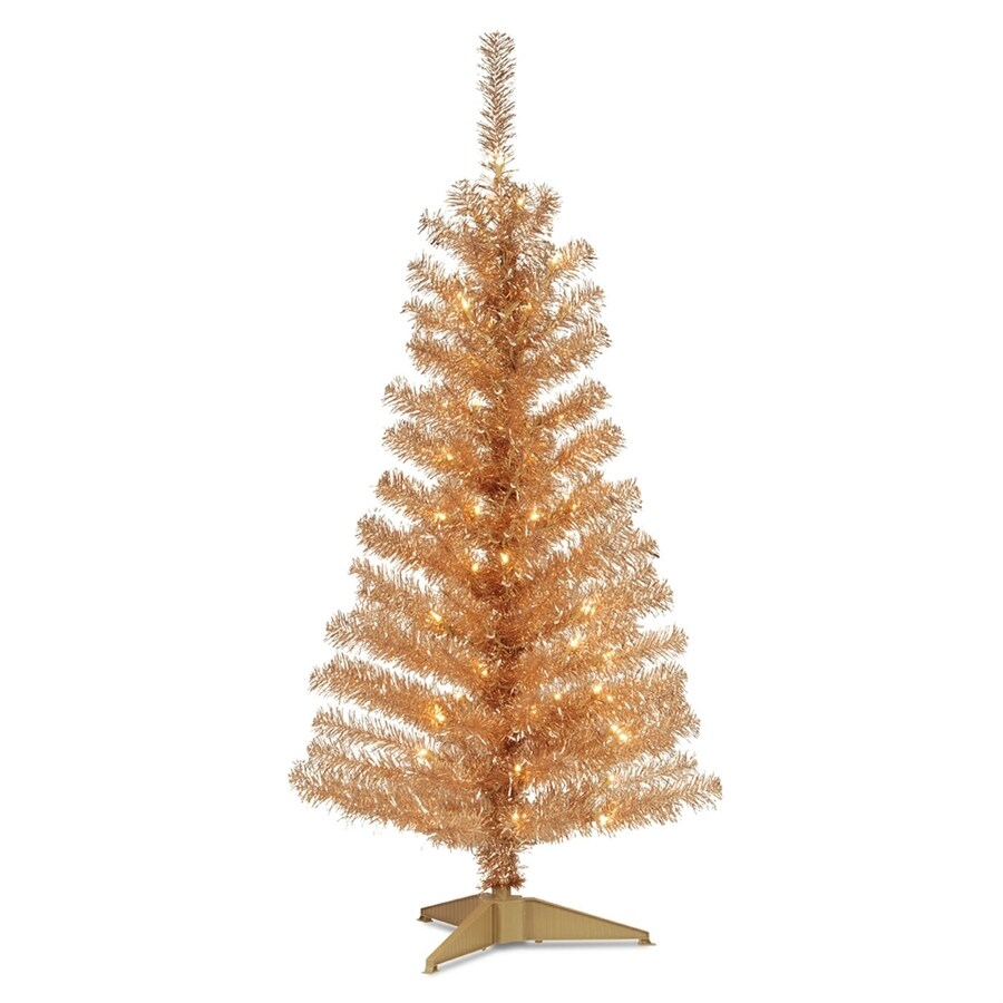 national tree company 4 ft pre lit tinsel full rightside up artificial christmas