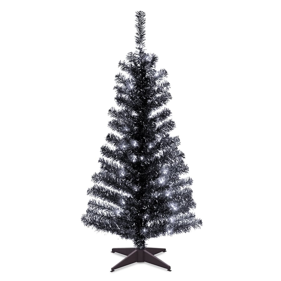 National 4-ft Pre-Lit Tinsel Full Rightside-Up Artificial Christmas Tree  with