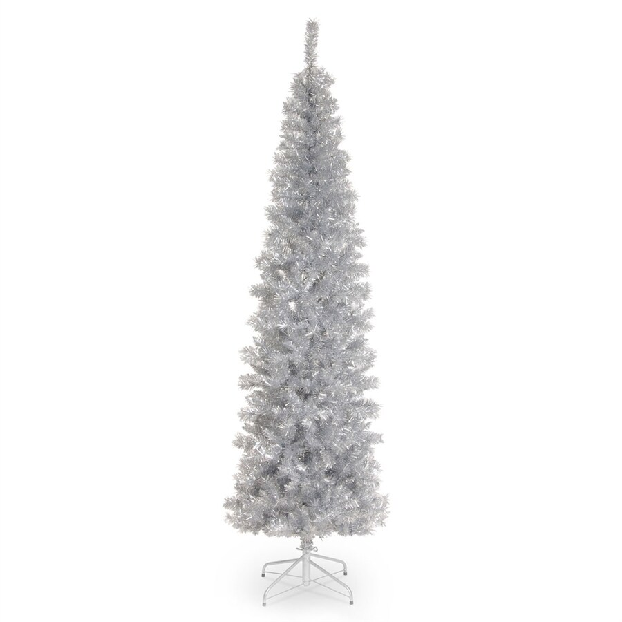 Shop National Tree Company 7-ft Tinsel Slim Rightside-Up Artificial ...