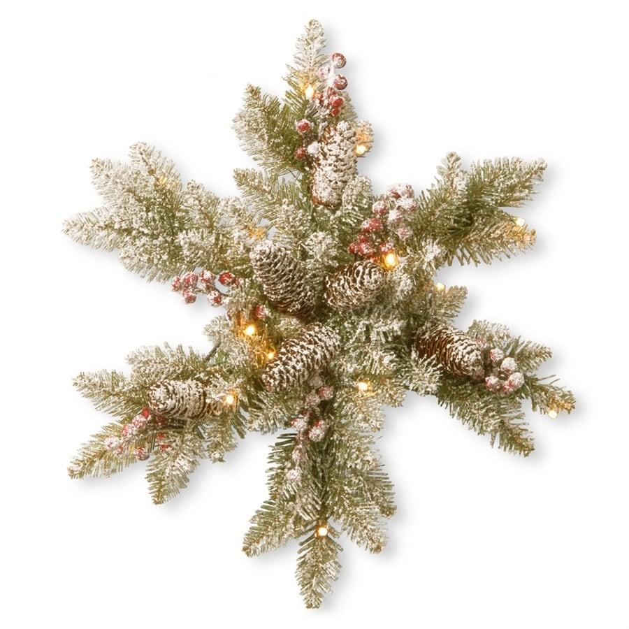 National Tree Company Lighted Snowflake Pinecones With White Led Lights