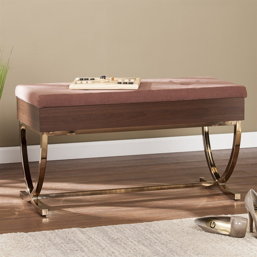 Boston Loft Furnishings Ruxley Contemporary Chocolate/Brass Accent Bench