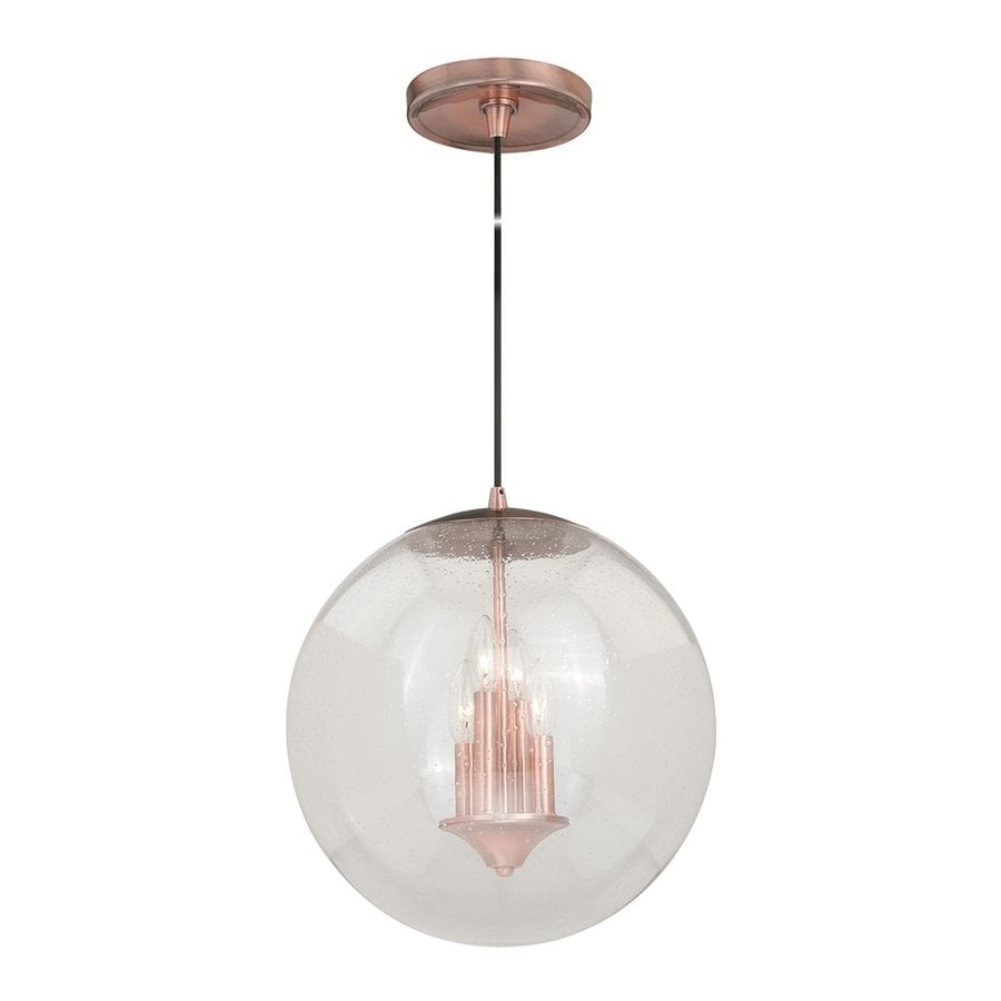 Cascadia Lighting 15.75-in Copper Seeded Glass Orb Pendant