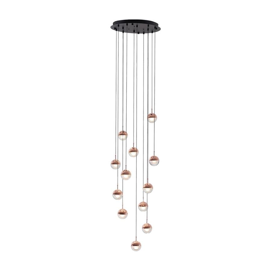 Seed Design Dora 17.7-in Copper Multi-Light Clear Glass Orb LED Pendant