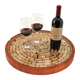 true brands brown wood full circle tabletop lazy susan