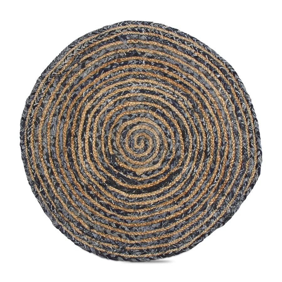 Tag Tag Living Blue Denim Round Indoor Handcrafted Distressed Throw Rug (Common: 3 x 3; 3-ft Dia)