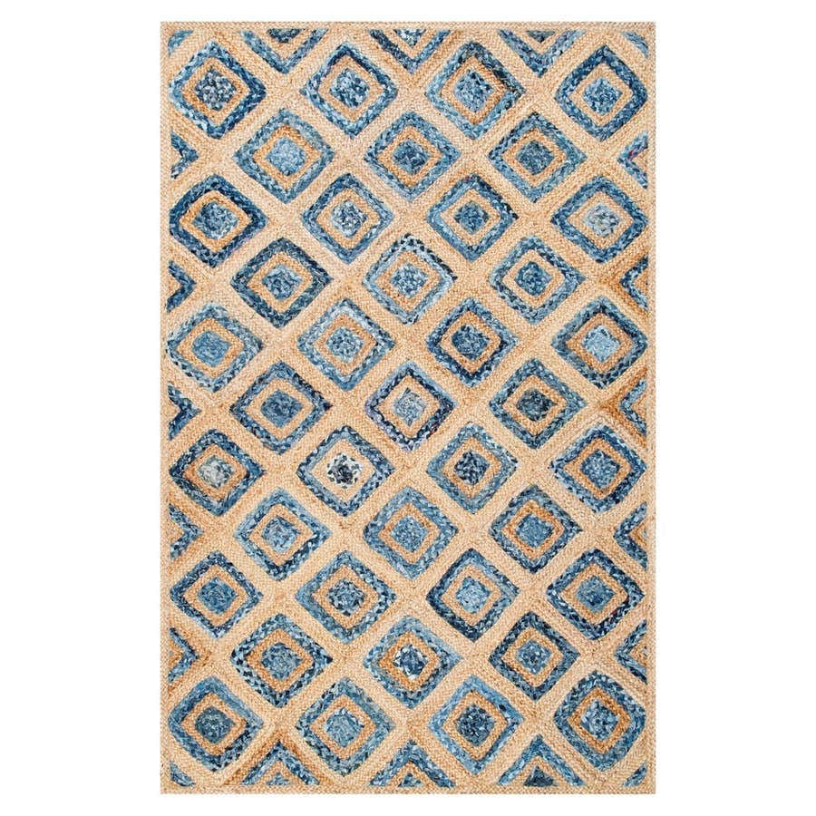 nuLOOM Rosalva Natural/Blue Indoor Area Rug (Common: 4 x 6; Actual: 4-ft W x 6-ft L)