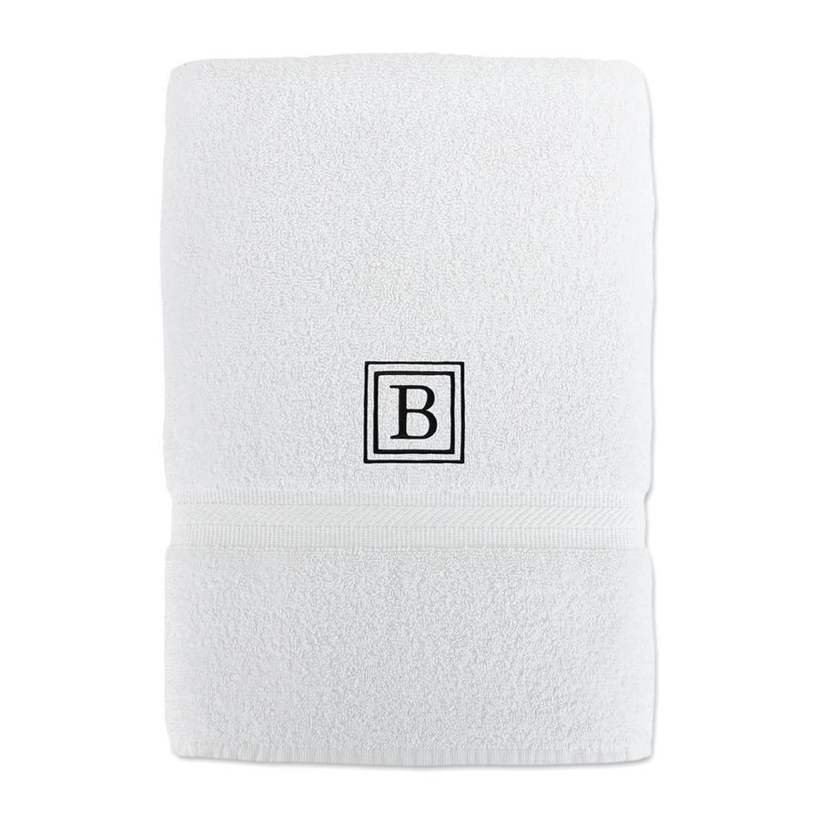 Luxor Linens Solano 58-in x 29-in White with Black Monogram Letter B Egyptian Cotton Bath Towel