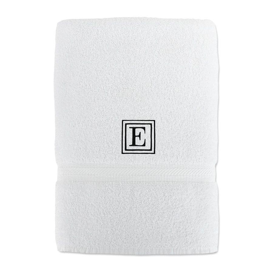 Luxor Linens Solano 58-in x 29-in White with Black Monogram Letter E Egyptian Cotton Bath Towel