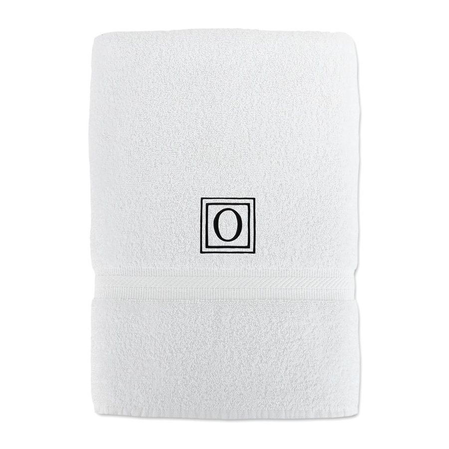 Luxor Linens Solano 58-in x 29-in White with Black Monogram Letter O Egyptian Cotton Bath Towel