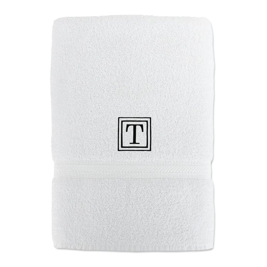 Luxor Linens Solano 58-in x 29-in White with Black Monogram Letter T Egyptian Cotton Bath Towel
