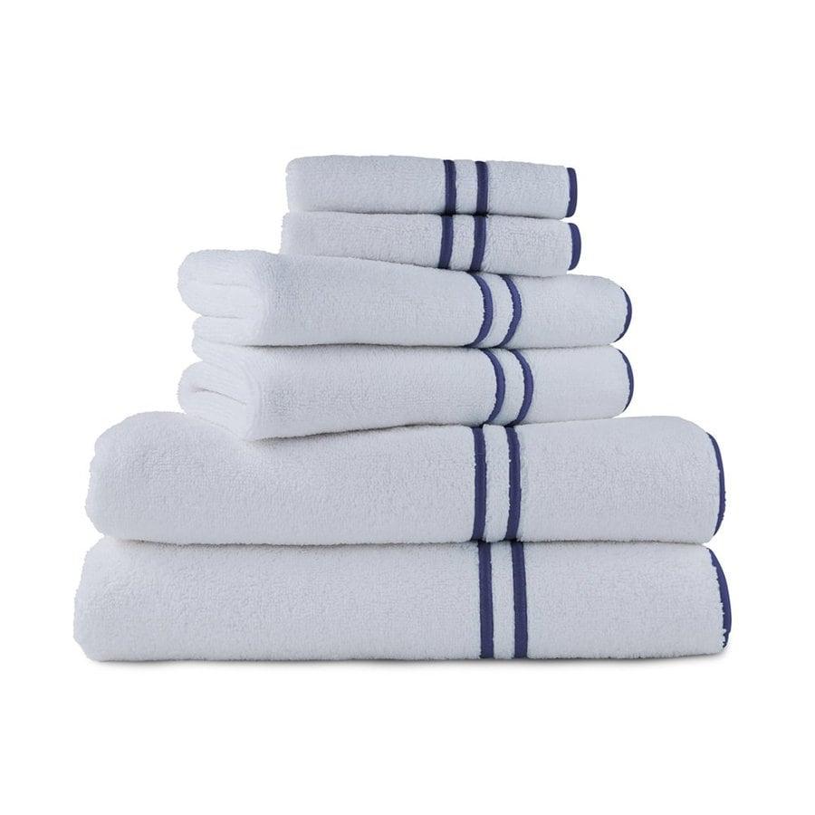 Luxor Linens 6-Pack Navy Cotton Bathroom Towel Set