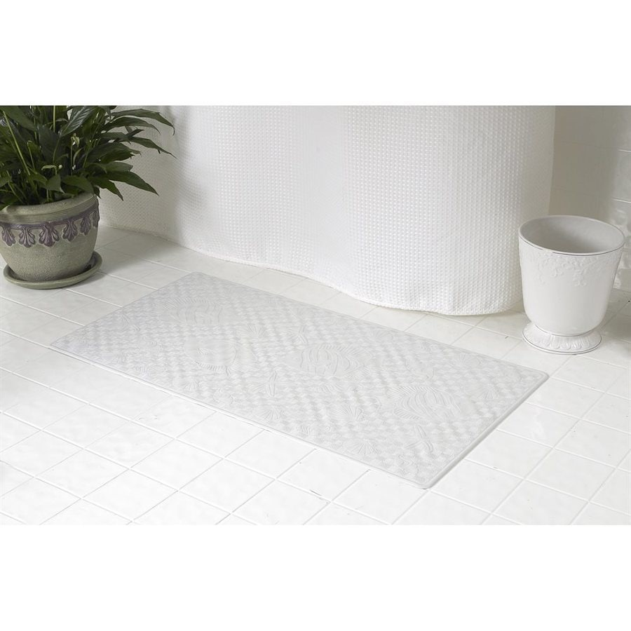 Carnation Home Fashions 28-in x 16-in White Rubber Bath Mat