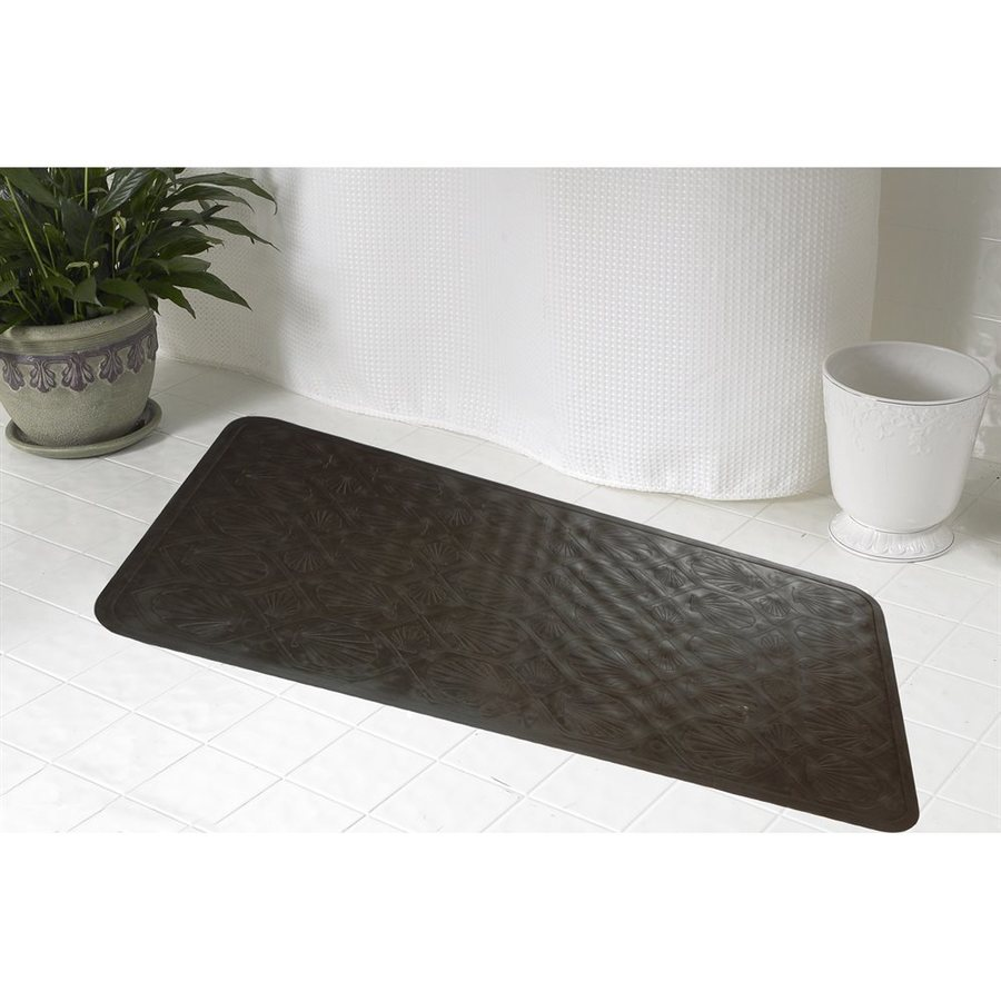 Carnation Home Fashions 36-in x 18-in Brown Rubber Bath Mat