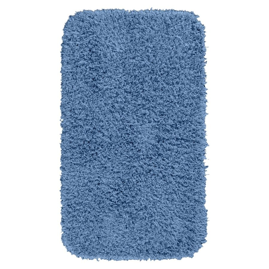 Garland Rug Jazz 50-in x 30-in Basin Blue Nylon Bath Rug