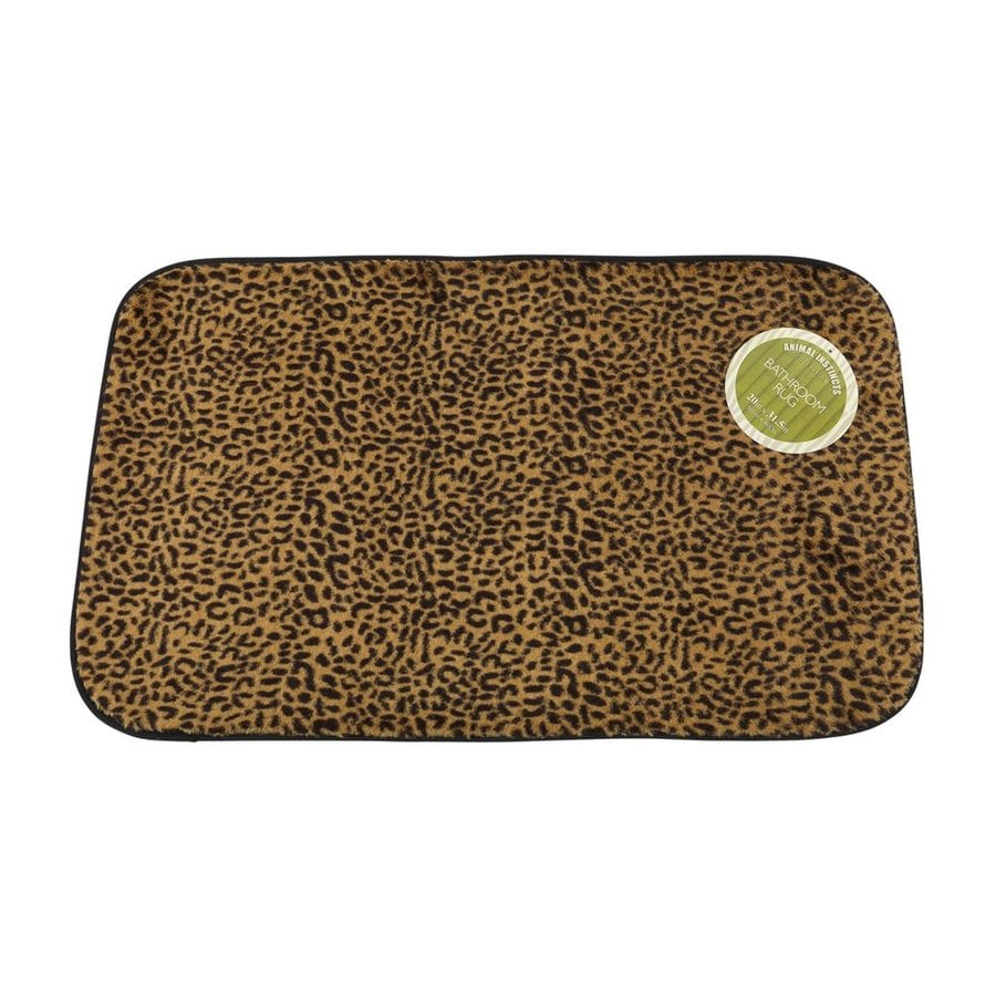 Carnation Home Fashions 31-in x 20-in Leopard Polyester Bath Rug