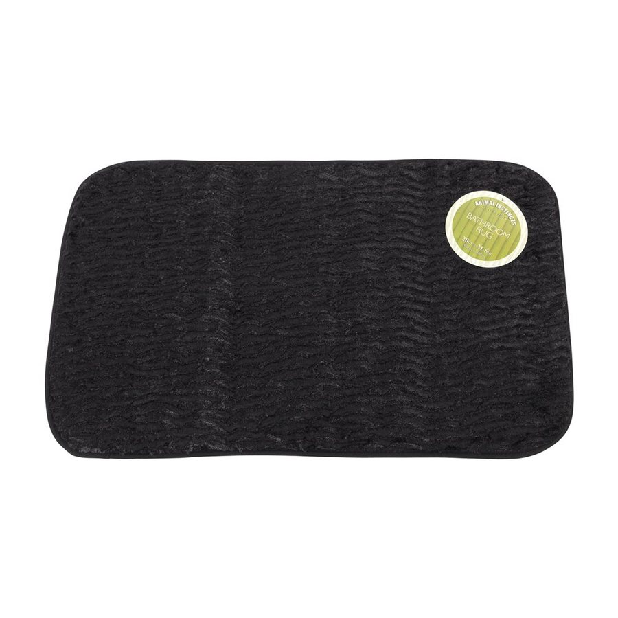 Carnation Home Fashions 31-in x 20-in Black Polyester Bath Rug