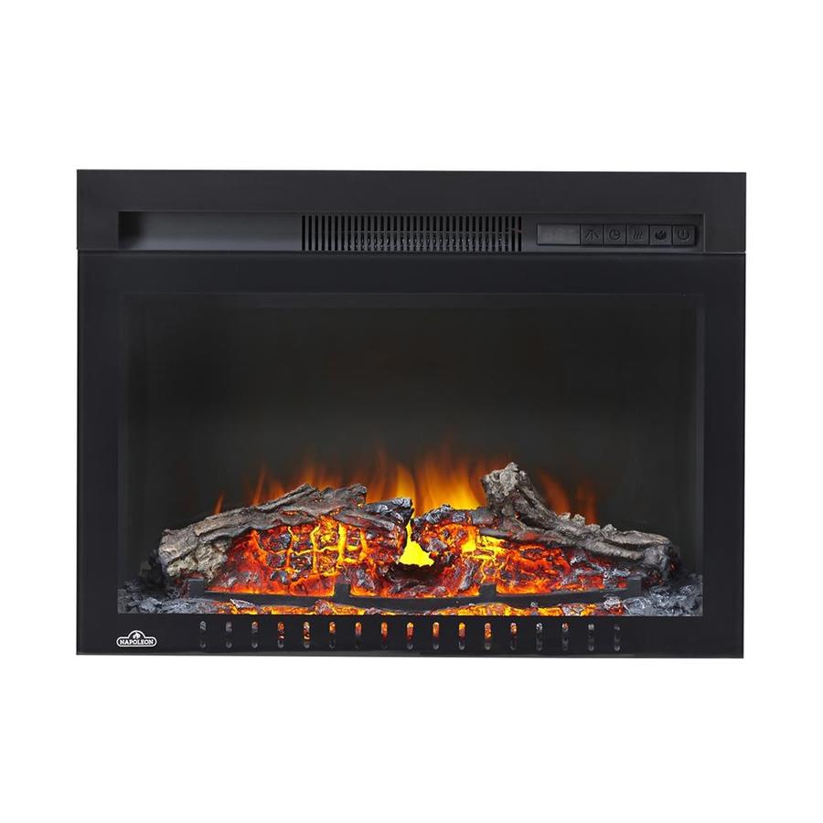 NAPOLEON 24-in W 5100-BTU Black Metal Flat Wall Electric Fireplace Thermostat Remote Control Included