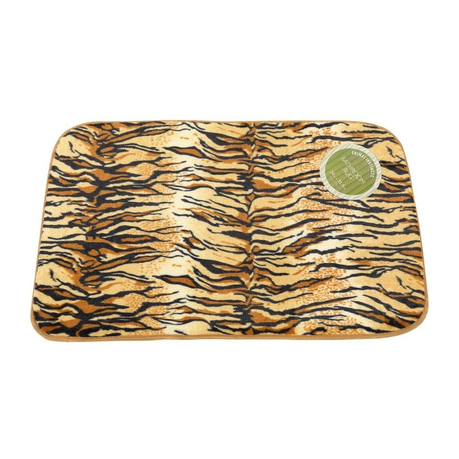 Carnation Home Fashions 31-in x 20-in Tiger Polyester Bath Rug