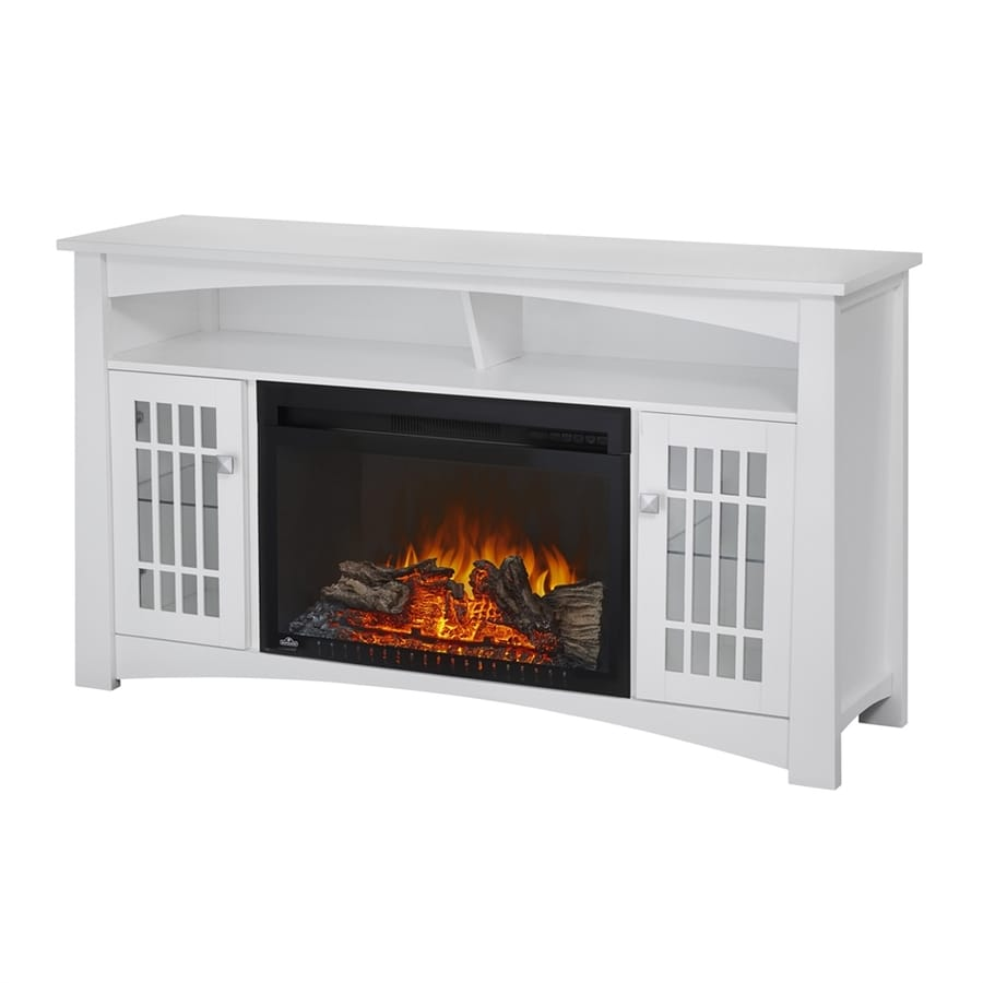 NAPOLEON 56-in W 5100-BTU White Mdf Flat Wall Electric Fireplace Media Mantel Thermostat Remote Control Included