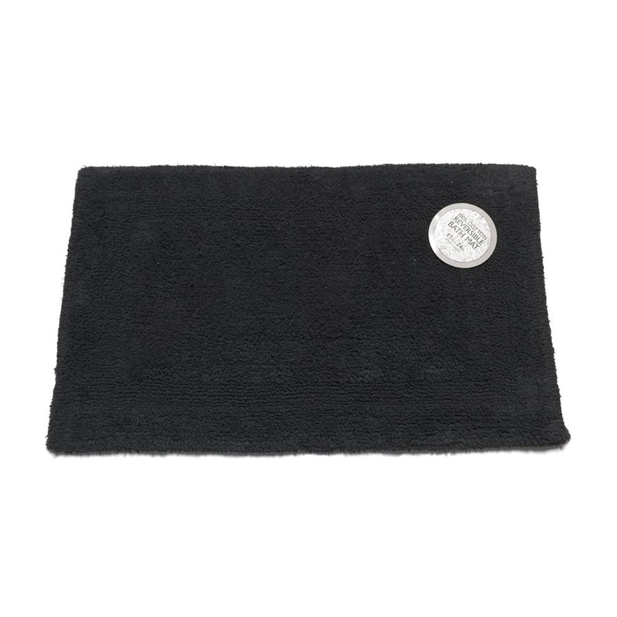 Carnation Home Fashions 34-in x 21-in Reversible Black Cotton Bath Mat