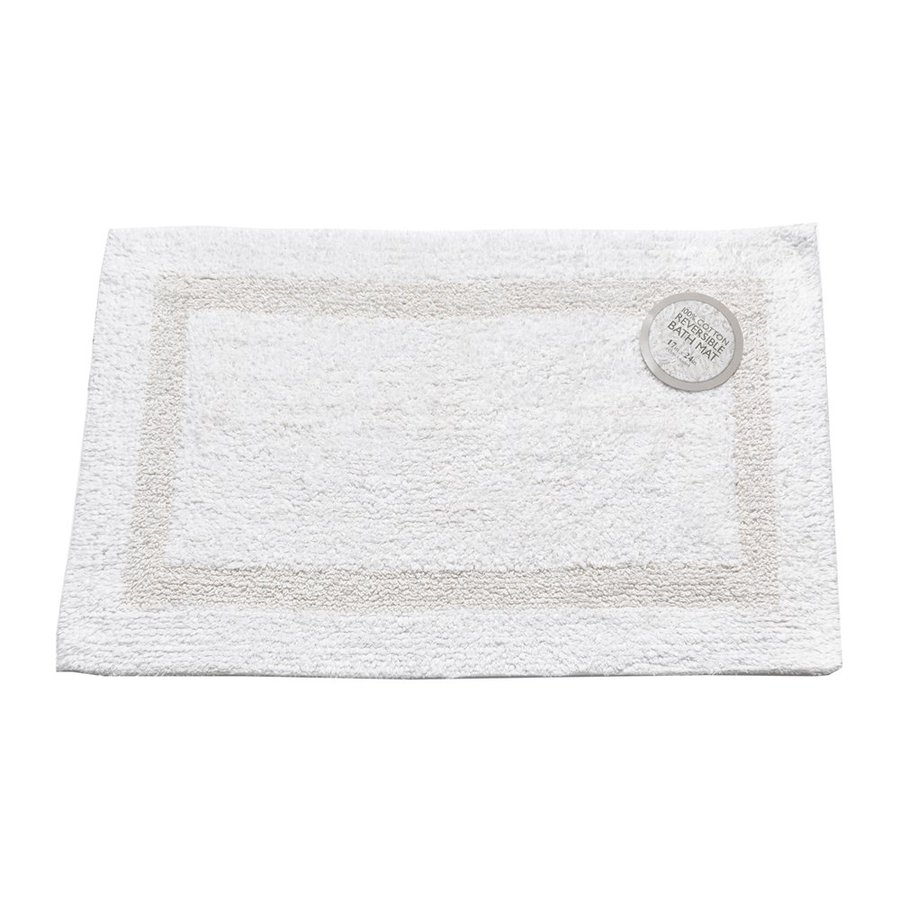 Carnation Home Fashions 34-in x 21-in Reversible White Cotton Bath Mat