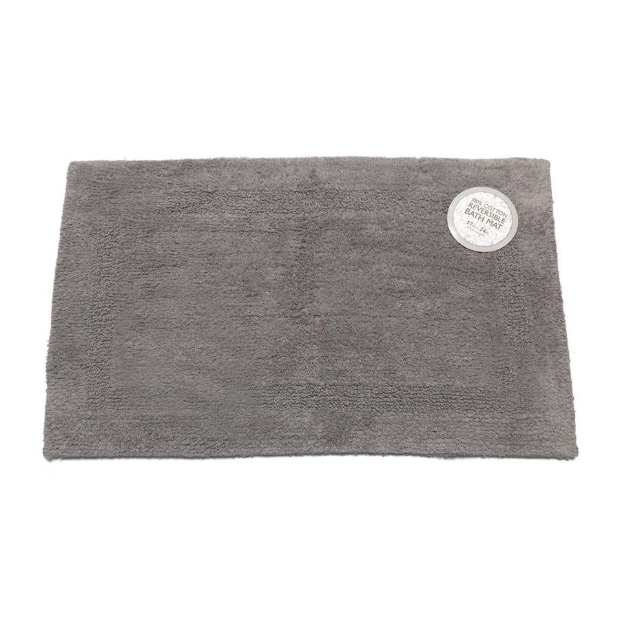 Reversible Bathroom Mats: Carnation Home Fashions 34-in X 21-in Reversible Pewter