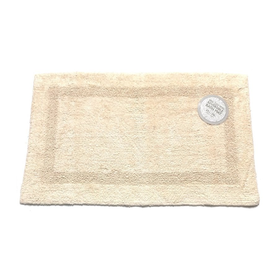 Carnation Home Fashions 24-in x 17-in Reversible Ivory Cotton Bath Mat