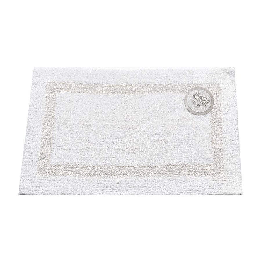 Carnation Home Fashions 24-in x 17-in Reversible White Cotton Bath Mat