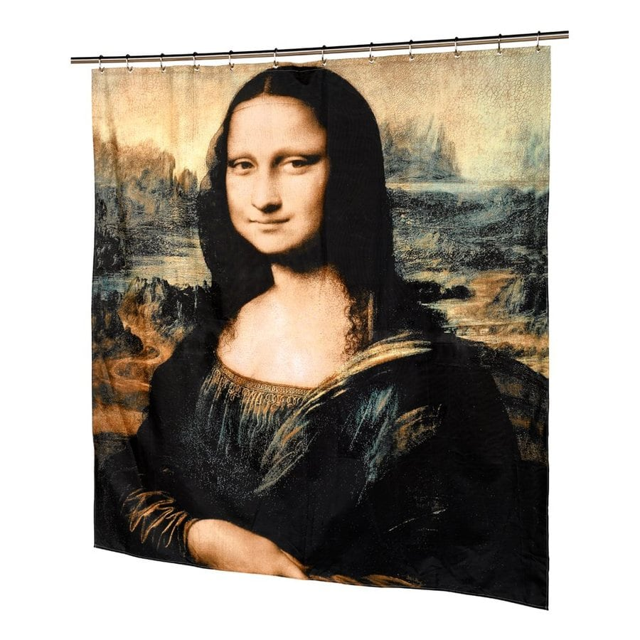Carnation Home Fashions Mona Lisa Polyester Black Pictorial Shower Curtain